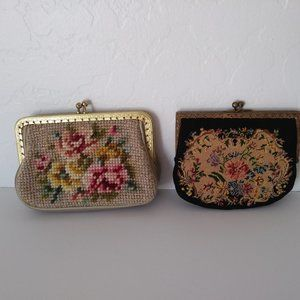 Vintage Floral Embroidered Coin Purses - Lot of 2